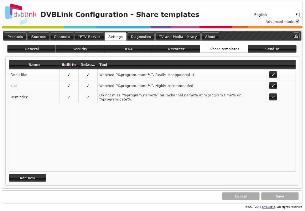 How to change DVBLink Server settings: Share templates - DVBLink wiki