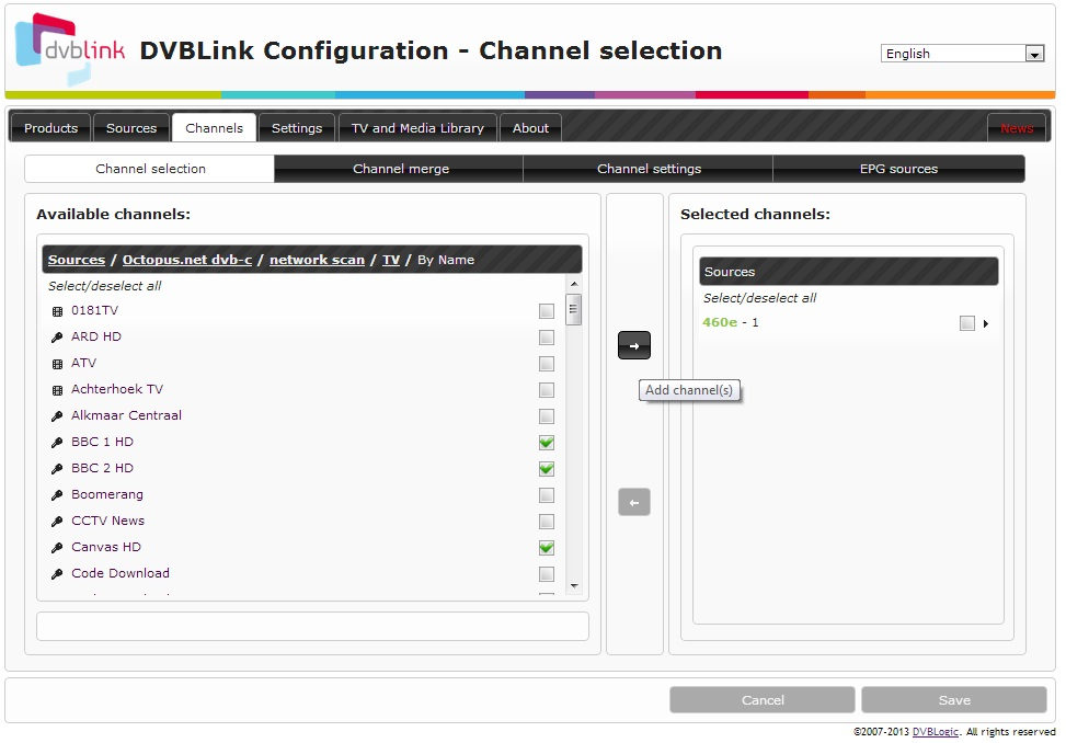 how to select channels dvblink wiki